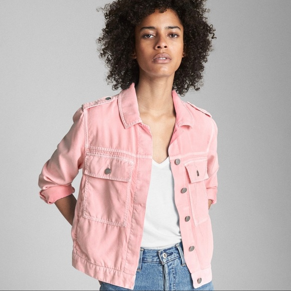 2243657dc30e8 GAP Jackets & Coats | Nwt Tencel Icon Utility Jacket Light Pink M ...